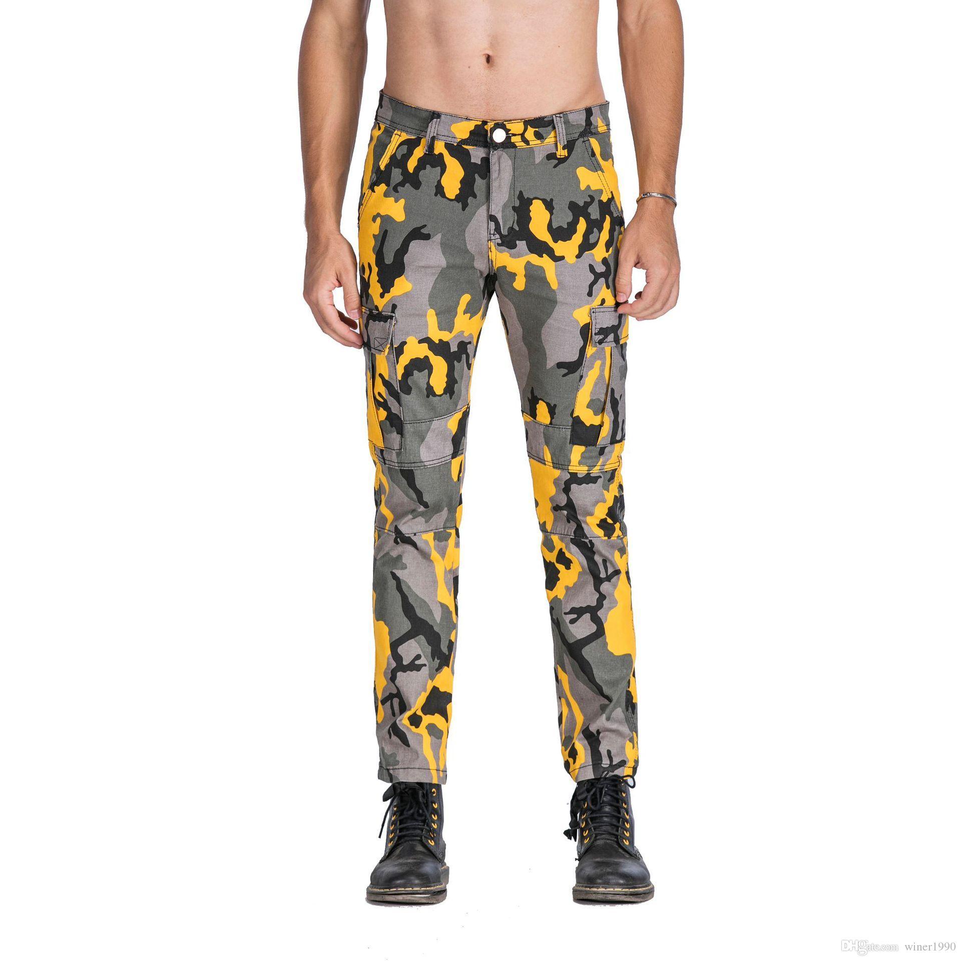 Moda erkek kamuflaj pantolon rahat pantolon 4 renk