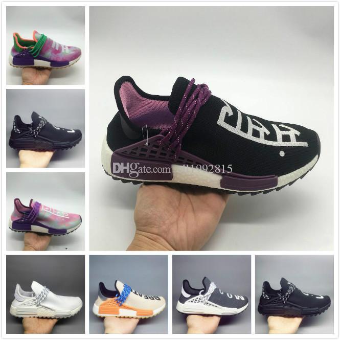d3c9ec0d Compre 2018 Mejor Calidad Hu Raza Humana Trail Running Shoes Hombres  Mujeres Pharrell Williams Holi Zapatillas De Deporte De Lona En Blanco  Zapatillas De ...