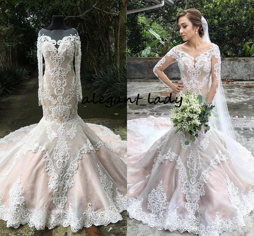 a768f9ee8ef89 Mermaid Long Sleeve Wedding Dresses With Nude Blush Lining 2019 Sheer Jewel  Neck Full 3D Lace Floral Trumpet Country Garden Wedding Gown Mermaid  Wedding ...