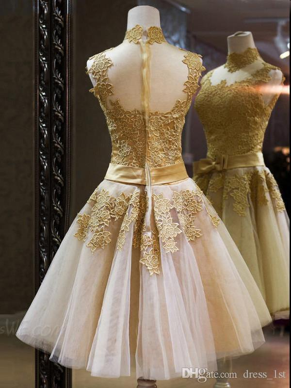Lace Applique Gold Short Prom Dresses Cheap High Collar Champagne Tulle Illusion Back Bow Sash Homecoming Dress Custom Made China EN2108