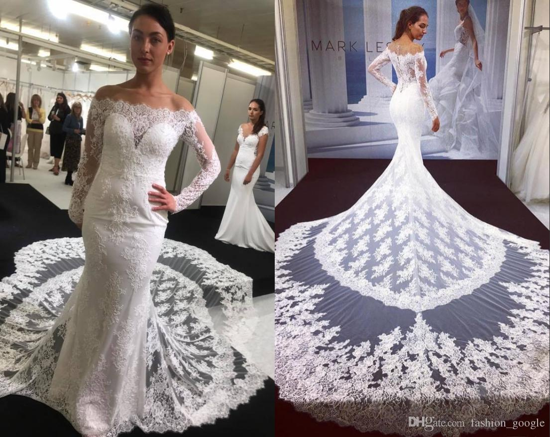 3be8ab77a9945 Cathedral Wedding Dresses 2019 Long Sleeves Off the Shoulder Lace Mermaid  vestidos de noiva Covered Buttons Real Pictures robe de mariee