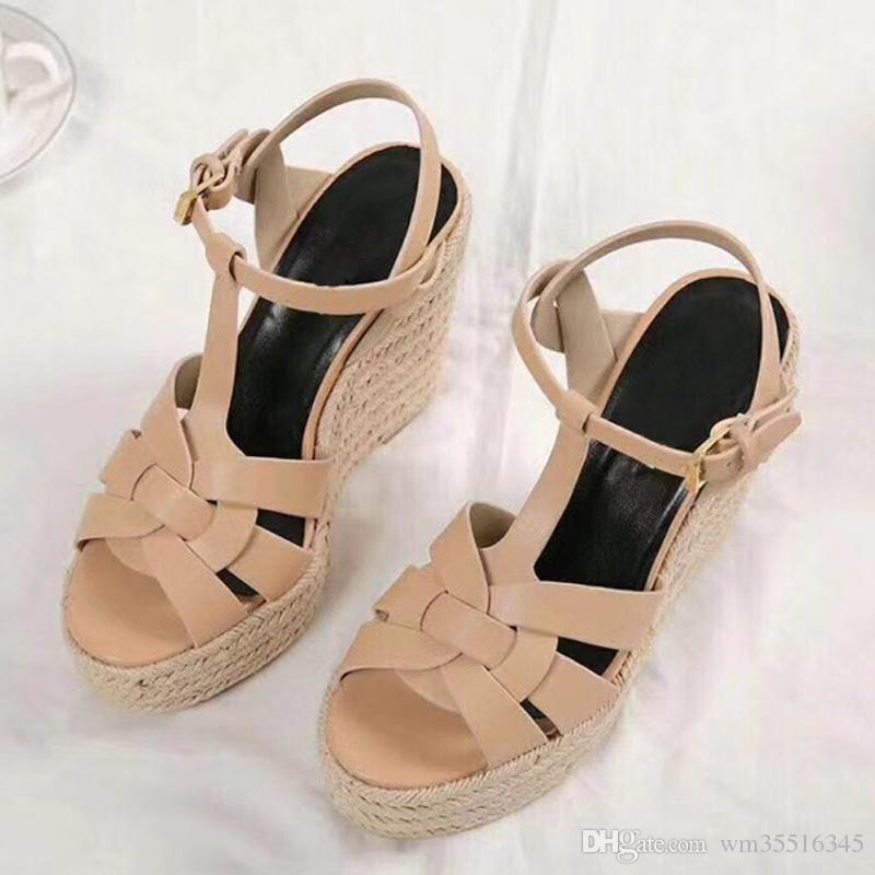 Yaz Kadın Sandalet Ayakkabı Kadın Pompaları Platformu Takozlar Topuk Moda Rahat Döngü Bling Yıldız Kalın Sole Kadın Ayakkabı