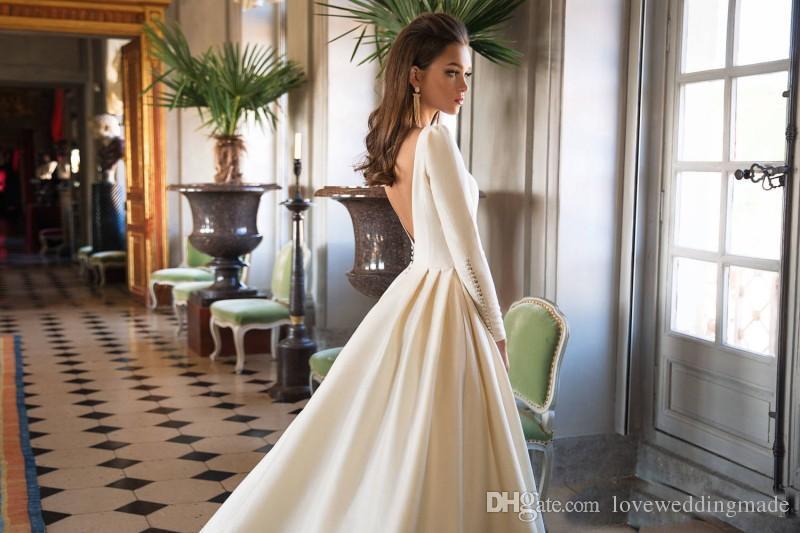 2019 Vintage Une Ligne Robes De Mariée Manches Longues Bateau Satin Dos Nu Robes De Mariage Plus La Taille Robe De Mariée Ivoire