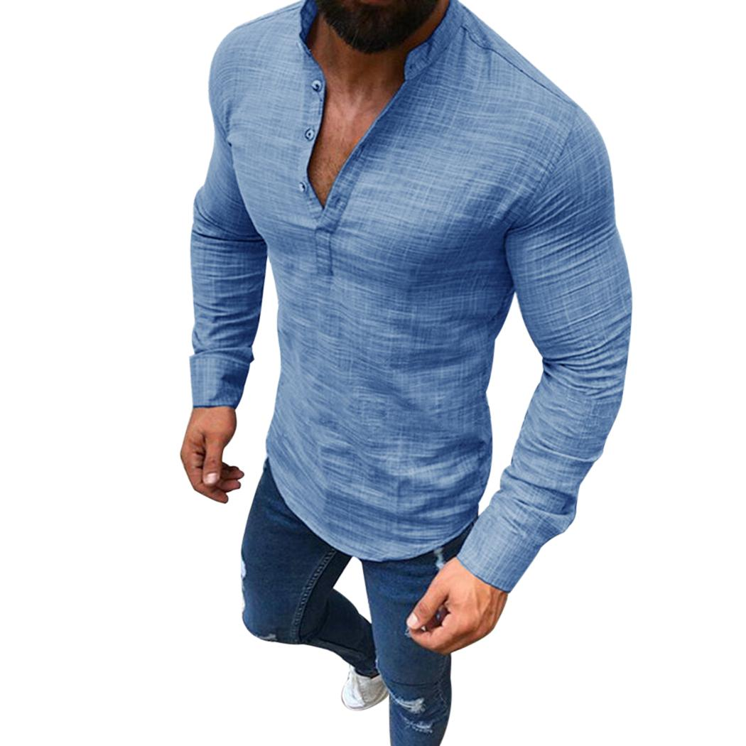a0bc4fc3b 2019 2018 Men Cotton Linen Tops Long Sleeve Shirt Summer Casual Loose V Neck  Men Solid Color Plus Size Shirts Chemise Homme 3XL From Honey333, ...