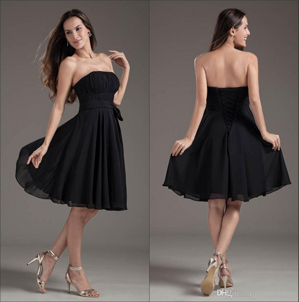 dc80fd02ab Strapless Chiffon Short Bridesmaid Dresses Black Ruffles Knee Length Empire  Sash Formal Wedding Guest Maid Of Honor Cocktail Dresses ZPT124 Bridal Gowns  And ...
