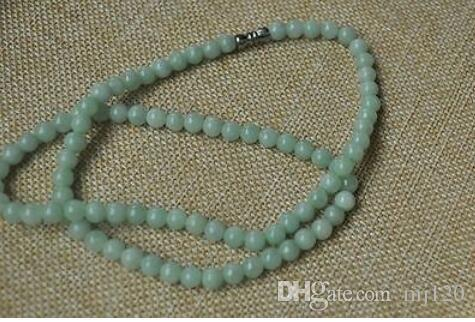 "100/% Natural Untreated /""A/"" Beautiful Chinese Jadeite Jade Beads Necklace 6mm 20/"""
