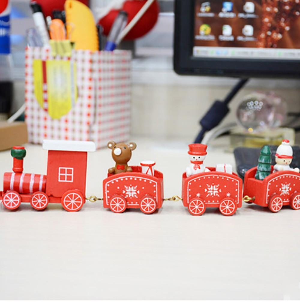 High quality Hemu Christmas Wooden Car Decoration Child Christmas Gift Small Train Desktop ornaments for kids toy