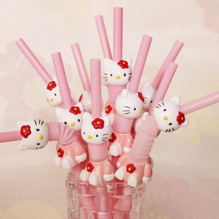 Hello Kitty Cartoon Pink Drinking Straw Kid Birthday Party Supplies