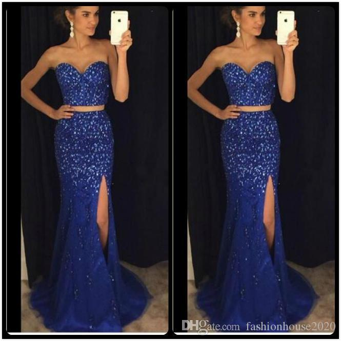 2018 Bling Royal Blue Two Pieces Mermaid Prom Dresses Sweetheart Beaded Crystal Open Back Side Split Sweep Train Pageant Party Evening Gown
