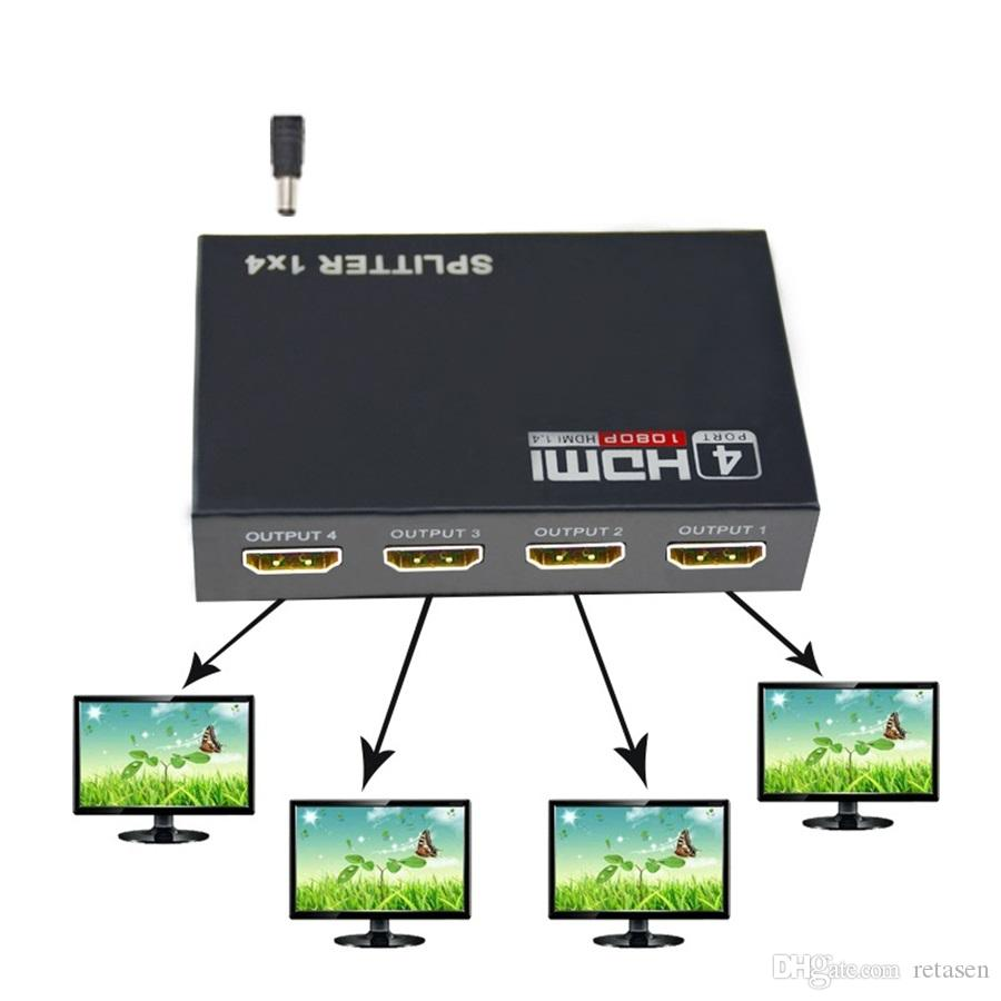 HDMI Splitter 1 in 4 Out HDCP 1080P Hub V1 4 HDMI Splitter Adapter Cable  For PS3 PC HDTV XBOX With Retail box