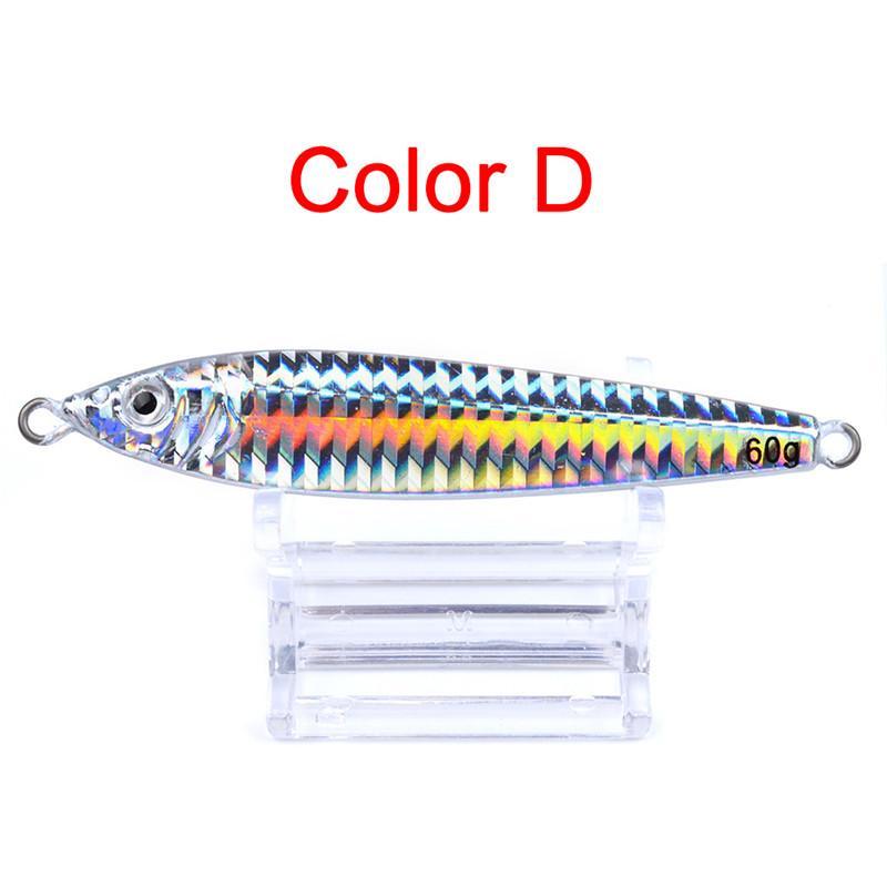 Hot Metal Jigs Señuelo Artificial Plástico Láser 3 Tamaño 60g 80g 100g Anti-corrosión óxido Deep hundimiento Cebo de pesca de hierro de agua salada