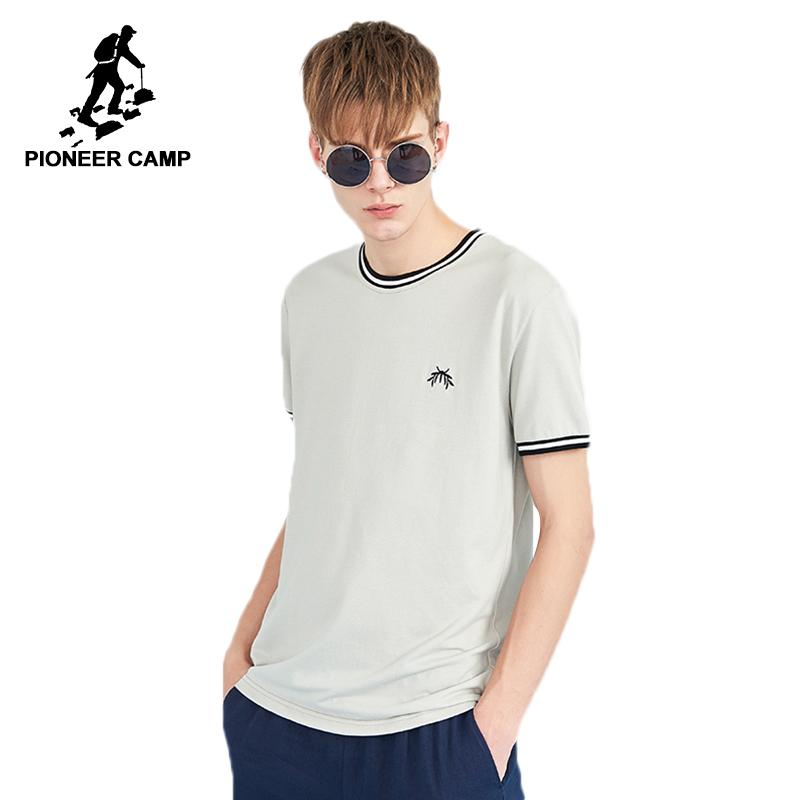 b67777c79b7 20187 Pioneer Camp New Summer Embroidery Men T Shirt Brand Clothing Fashion  Striped Tshirts Male Cotton Quality T Shirt Men ADT803124 Funny Rude T  Shirts ...