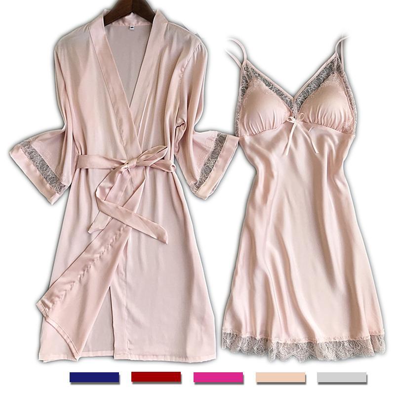 2019 UNLIMON Womens Nighties Silk Nightgown Ladies Pjs Lace Girls ... b0ef7c7440