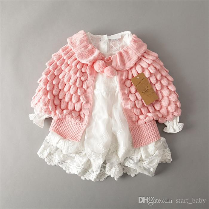Hot 2018 Kids Girls Knit puff cardigan bebé Ponwing Batwing bebés Otoño Invierno outwear tejer suéteres ropa para niños B11