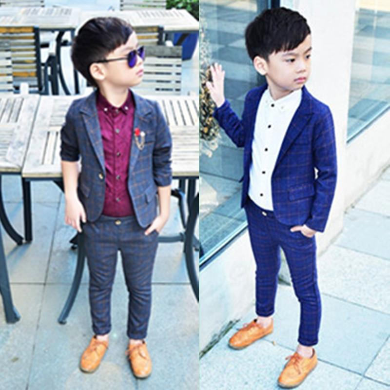 89cf3ff1fd5d7 Retail one set Child Blazer Suit Jacket + pant 2pcs boy clothing set 2-10T  Wedding flower boy Dress slim Kids Gentle Costume