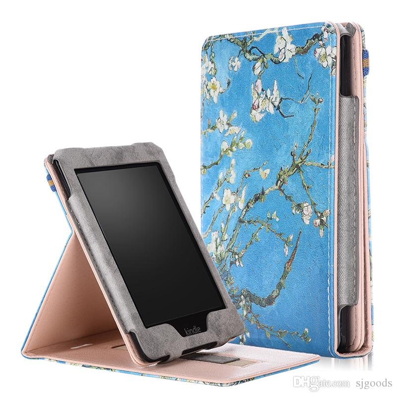Painted PU Leather Case with Front Holder for Amazon Kindle Paperwhite 1 2 3 Flip Smart Cover for Kindle 958 2015 +Stylus