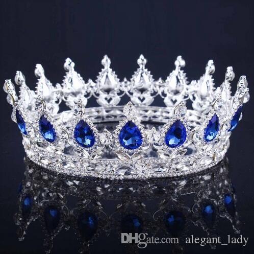 Luxe Vintage Or Mariage Alliage De Mariée Tiara Baroque Reine Roi Couronne Or Couleur Strass Couronne De Diadème