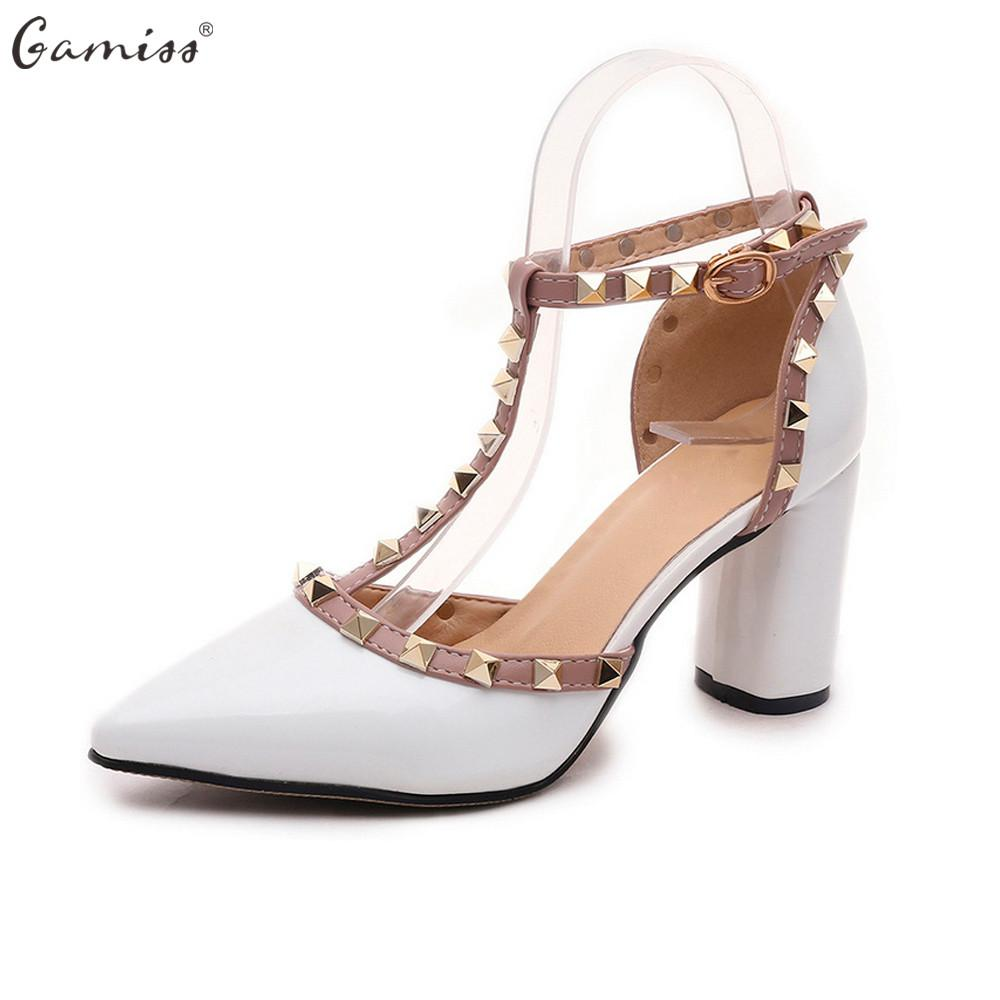 7786ca53e5d Gamiss T-strap Pumps Patent Leather High Heels Women Sandals Shoes ...