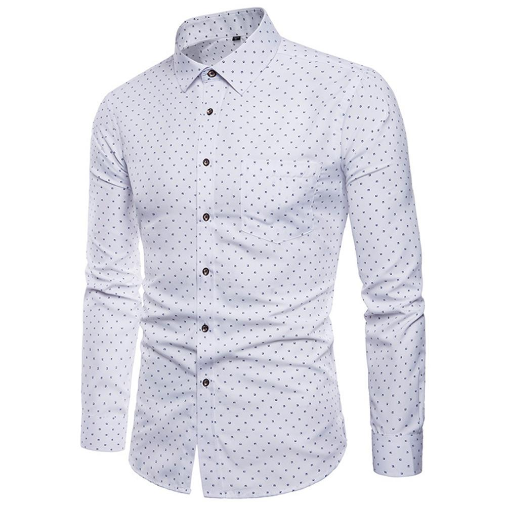 2019 White Shirt Men Print Hot Sale Casual Shirts Vintage Male