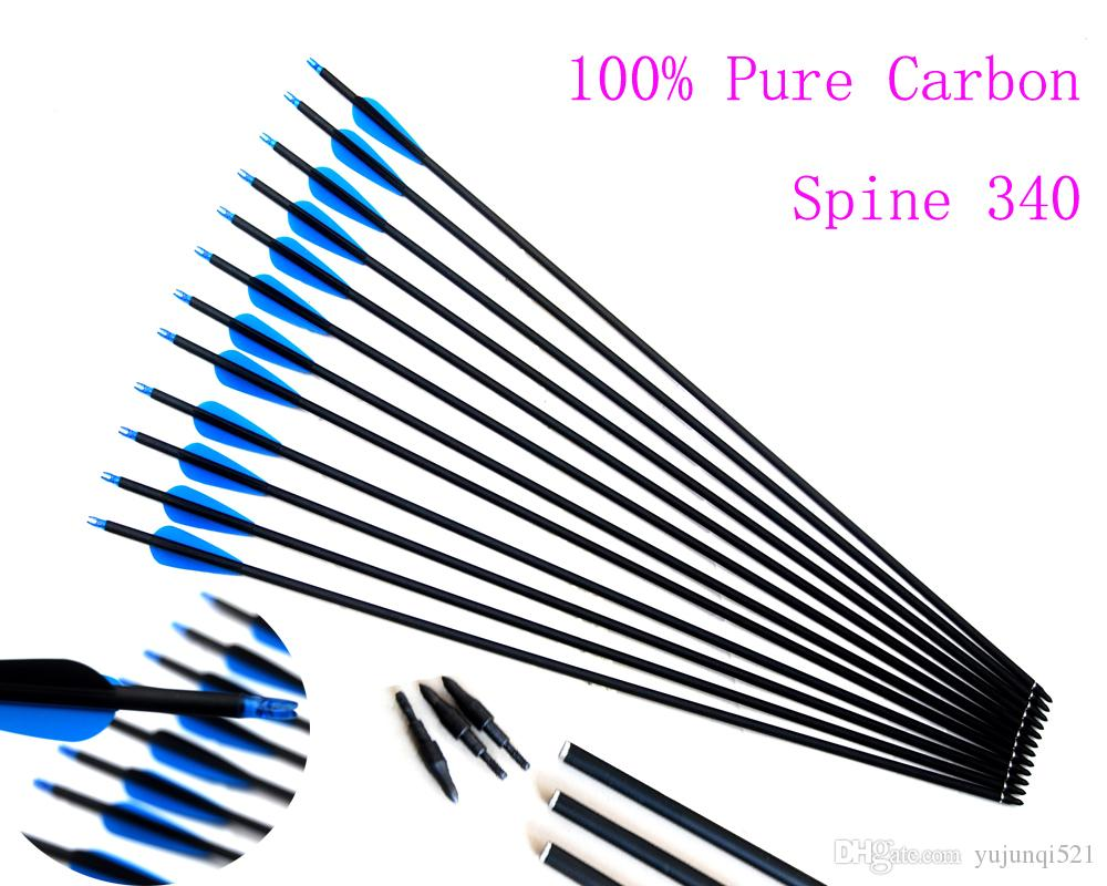Spine 340 Pure Carbon Arrows Archery Hunting Arrows Straightness /- 006  Length 30 Inches for Recurve/Compound Bows Archery