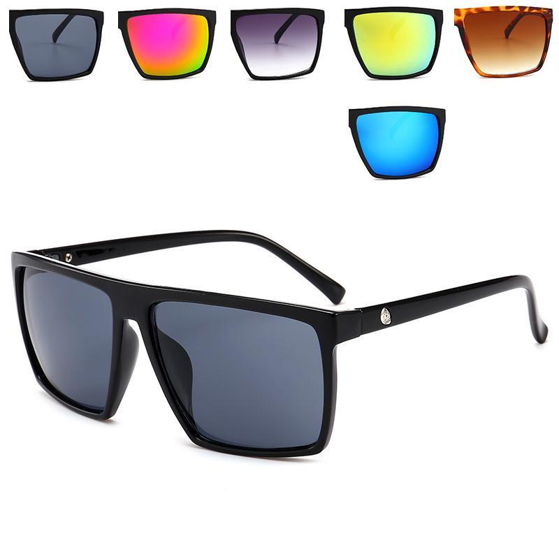 2dfedfc9cb6 2018 Fashion Square Sunglasses Men Women Brand Designer Mirror ...