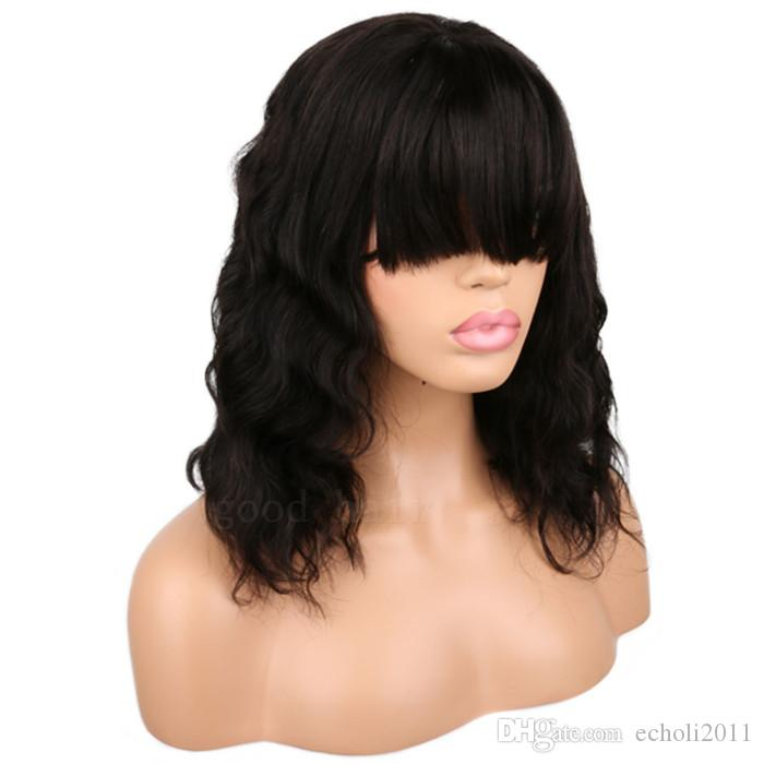 Natural wave brazilian virgin hair lace front wigs with bangs short bob human hair 180% density human hair wigs for black women