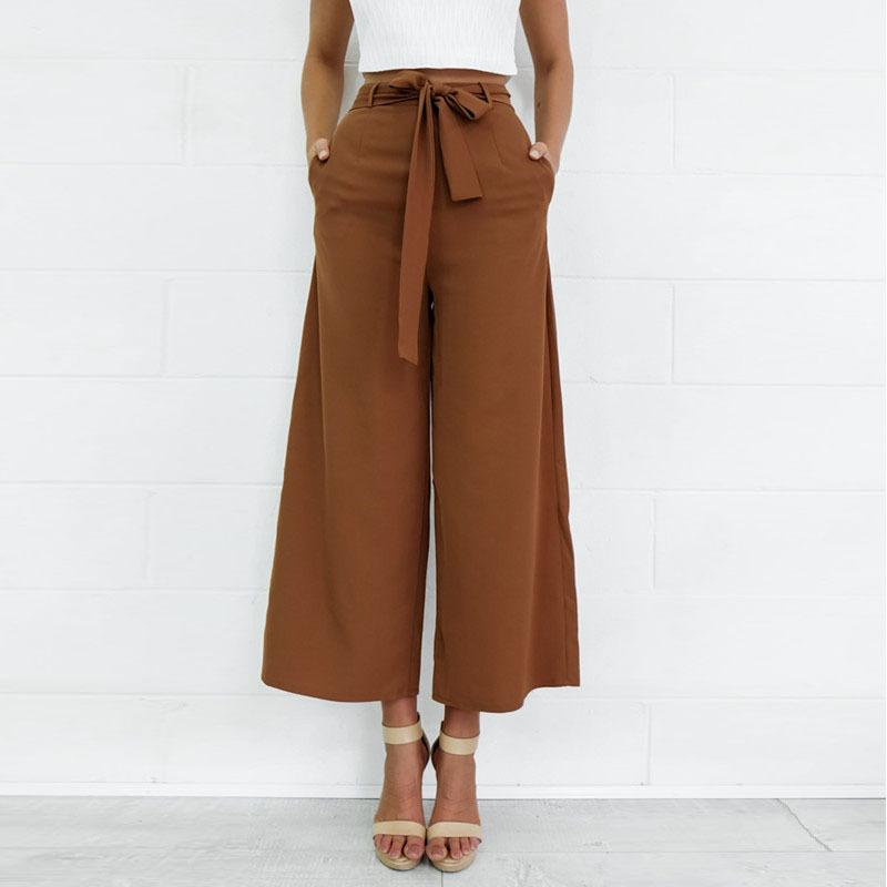 4f6a88c412e5c 2019 Women Orange Wide Leg Chiffon Pants High Waist Tie Waist Trousers  Palazzo OL Pants Long Culottes Pants Long Trousers From Jiehan shop