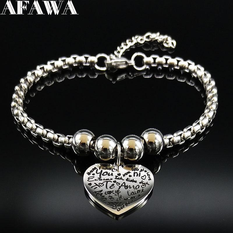 2018 2018 Fashion Teenage Te Amo Stainless Steel Chain Bracelet