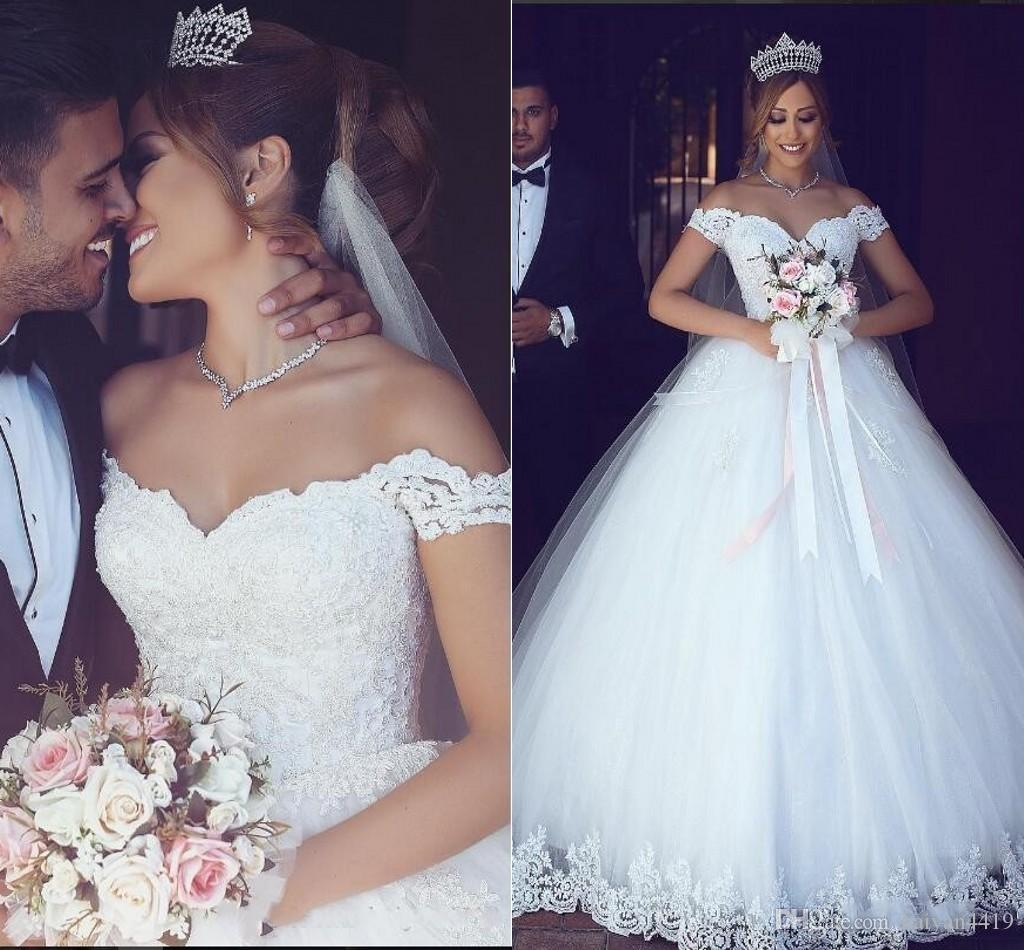 2a0243f30ac 2018 Lace Arabic Ball Gown Wedding Dresses Off Shoulder Appliques Puffy  Sweetheart Pearls Tulle Floor Length Long Vintage Cheap Bridal Gowns  Beautiful ...
