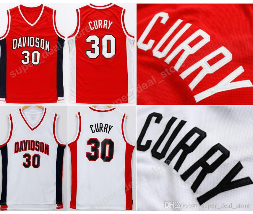 8272bf96b5a Davidson Wildcats Basketball Jerseys Red Stitched 30 Stephen Curry ...