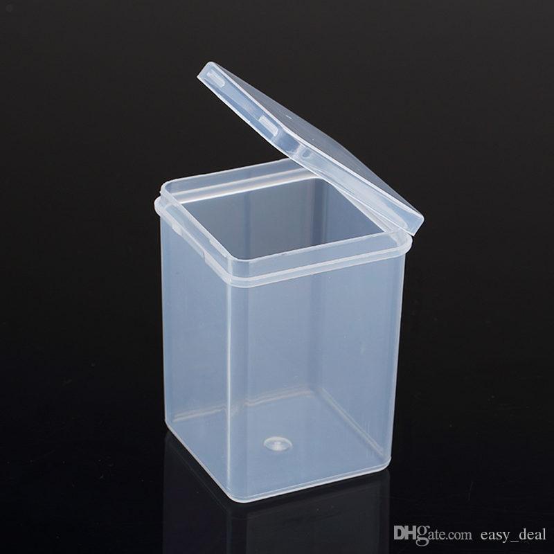 Pequeñas cajas cuadradas de plástico transparente, caja de almacenamiento de embalaje, con tapa para joyero Accesorios Caja de batería F20173138
