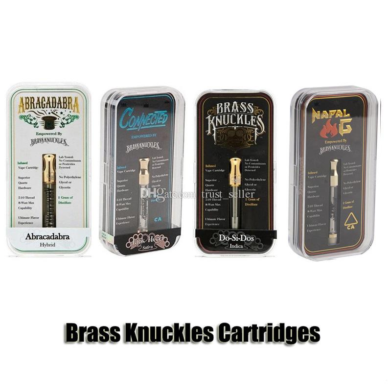 Connected Abracadabra Brass Knuckles Cartridges Gold Glass Tank 1.0ml 510 Dual Cotton Ceramic Coil Thick Oil Atomizer With Flavour Sticker