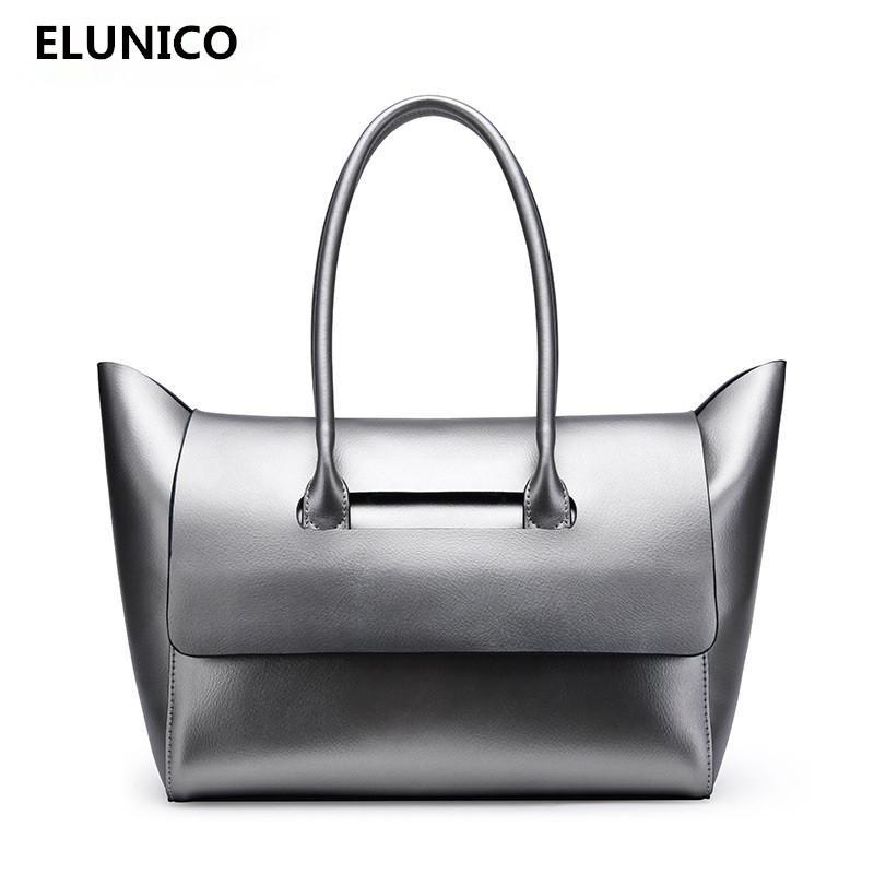 ELUNICO Brand 100% Cowhide Bag Women Luxury Handbags Women Bags ... 9ee9399ee5