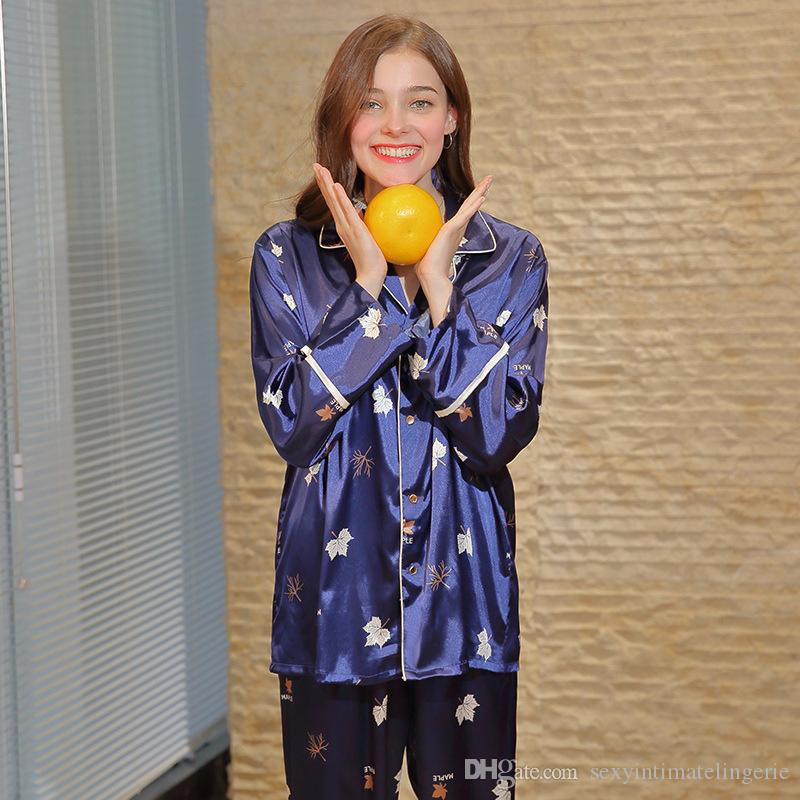 2019 Luxury Spring Maple Leaf Print Casual Pajama Set Top Pants Women Satin  Silk Long Sleeve Sleepwear Lady Nightwear Pijama Feminino From ... 66abb6929