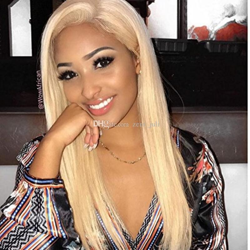 613 Platinum Blonde Full Lace Wigs Vrigin Brazilian Hair Blonde Lace Front Wig Silky Straight Blonde Human Hair Wig With Baby Hair