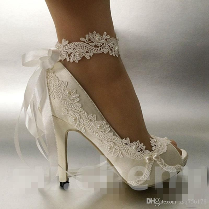 2020 Women Fashion Ivory Pearls Ribbon Open Toe Wedding