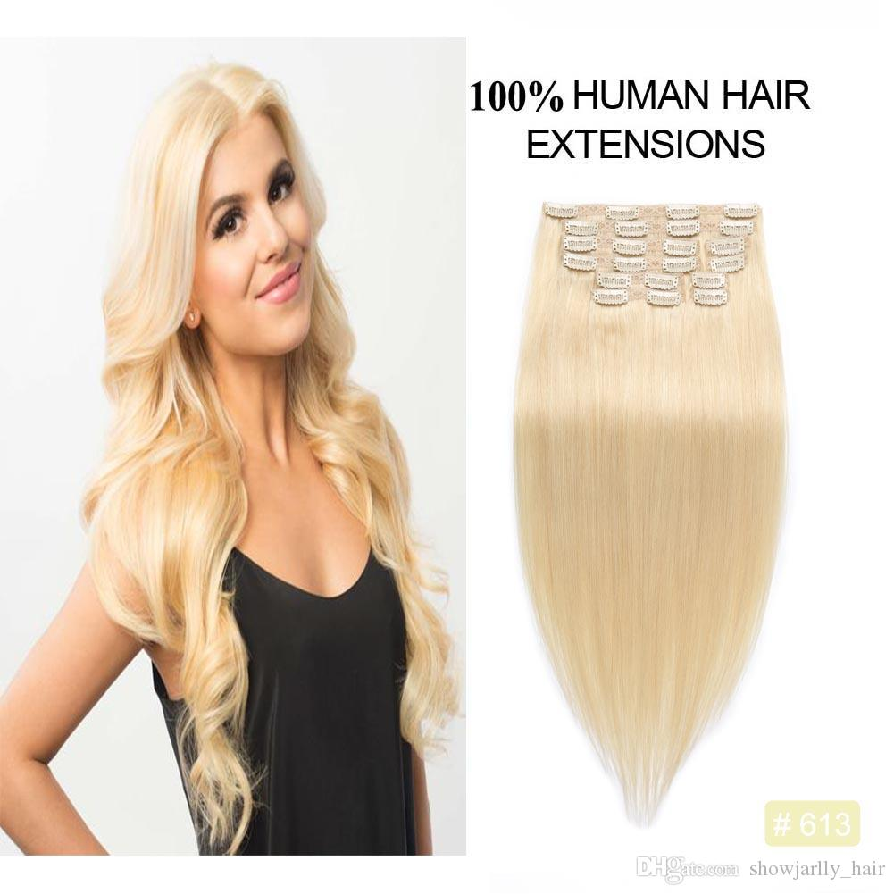 Brown Blonde Human Hair Clip In Extensions 100 Brazilian Virgin Remy