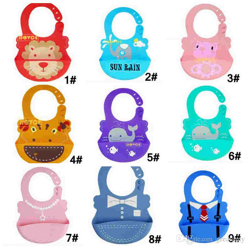 Best quality Silicone Waterproof Bibs - Soft Baby Bibs with Food Catcher Pocket - For Girls & Boys - Easily Wipes Clean&Dries animal design