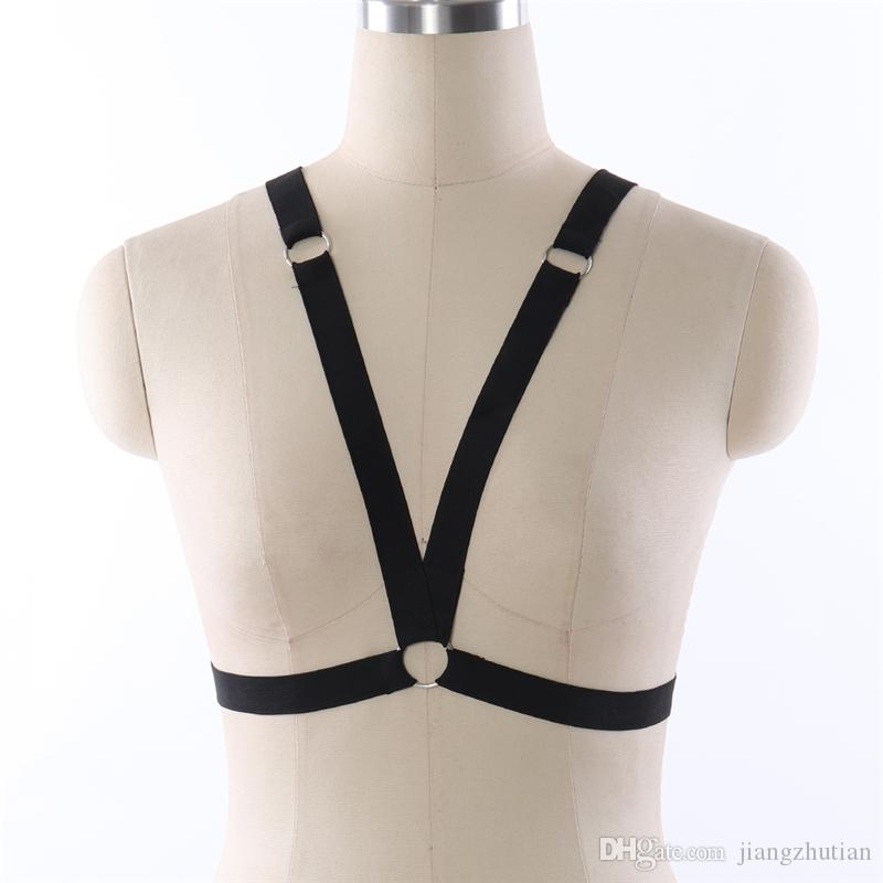 Frauen schwarz weich Bondage Body Harness sexy Brust durch BH elastisch anpassen Strap Tops Fetisch Dessous Käfig BH