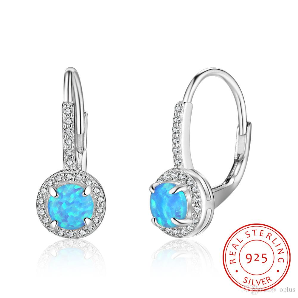 earrings stud cz real jewelry round silver sterling opal