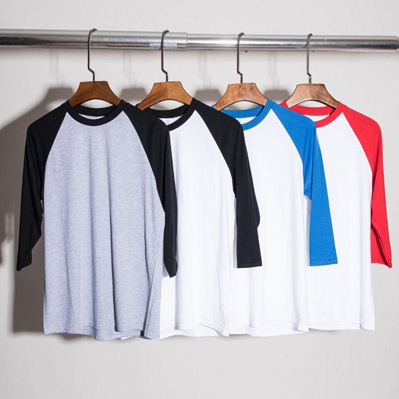 c8cc6bce7eadb6 Men's Plain Raglan T-Shirt 3/4 Sleeve Crew Neck Athletic Baseball Jersey  Shirt Justin Bieber Cotton Casual Tees Tops BFSH0814