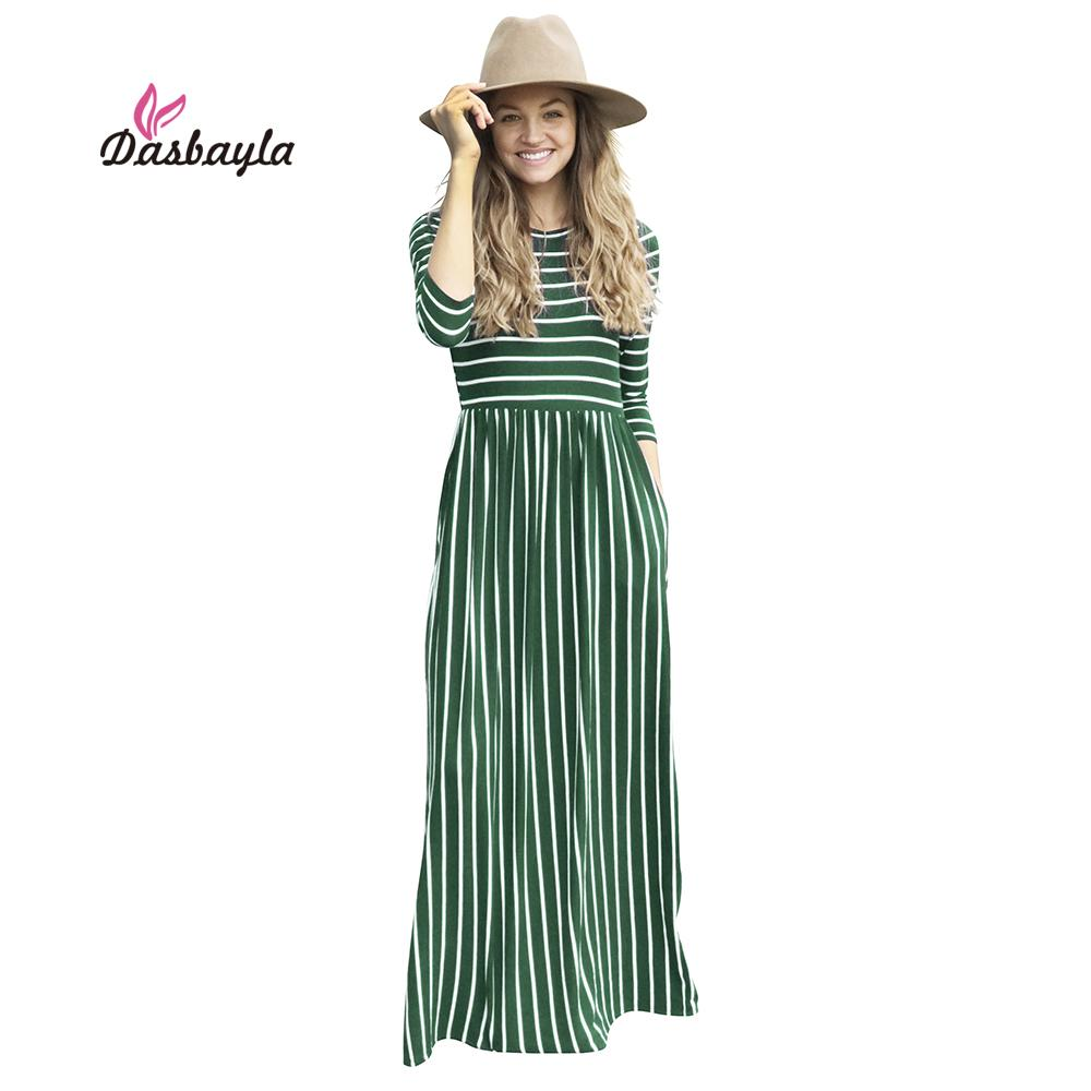 2019 Dasbayla Women Tunic Maxi Dress 3 4 Sleeve Pocket Striped