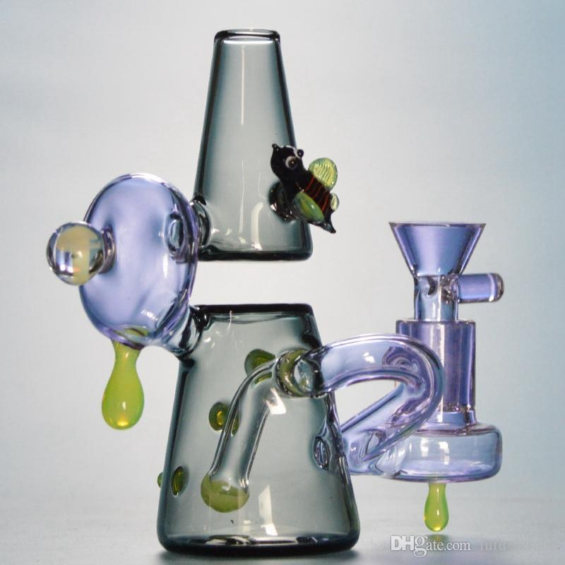 Purple Mini Bong Heady Glass Bong 5 1 Inch Smal Water Pipe with 14mm