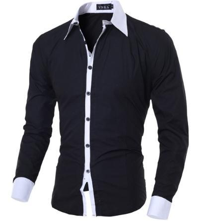 c71c94cc17 2019 2018 New Fashion Brand Casual Men Shirt Long Sleeve Fit Solid Color Shirt  Black Mens Dress Shirts Men Social Clothes M XXL From Super004