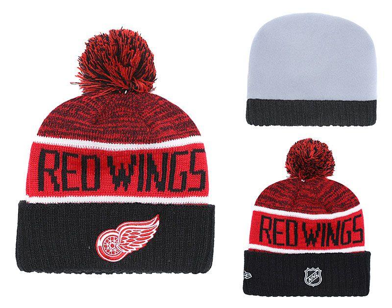 1b0d1577620a9 2019 New Detroit Red Sport Cheap Knitted Beanies Winter Warm Skull Hats Ice  Hockey New York Pom Embroidery Team Logo Cuffed Pom Knit Hat Crochet Hats  ...