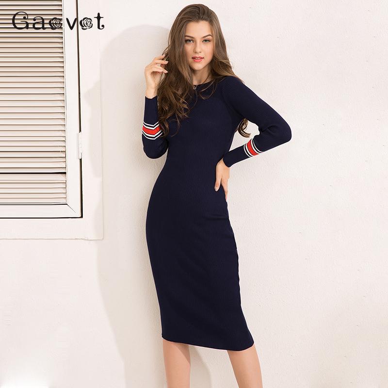 Gracegirl Spring Women Dresses Series Striped Fitness Elegant Knitted  Sweater Dress Casual Bodycon Slim Midi Vestidos SA231095 C18110701 Online  with ... e131789dd