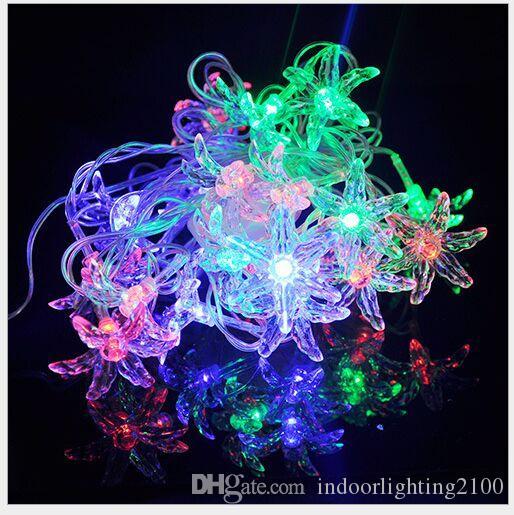 4M 20 Luci AC110V / 220 V Led Six Leaf Grass Lamp Strings Halloween Natale Decorazione Festival Luci notturne Stringhe led Flash Lighting