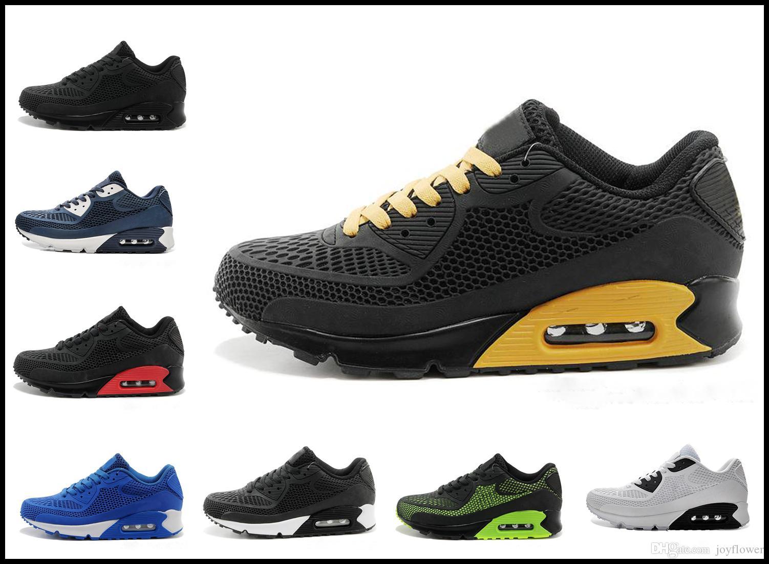 on sale 80ac3 95807 Acheter Nike Air Max Airmax 90 Nouveau Chaussures De Course Air Cushion 90  KPU Hommes Femmes Baskets Haute Qualité Pas Cher Tout Noir Chaussures De  Sport ...