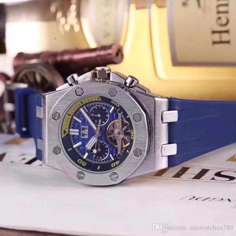 Pantalla de calendario Relojes para hombres Relojes suizos de lujo de la mejor marca Royal Oak Concept Series Reloj militar Relojes mecánicos Todos los trabajos de marcación