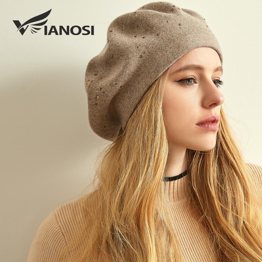 3f076623586f VIANOSI зимние берет шляпа женщин шерсть вязаные береты горный хрусталь  шапки ...